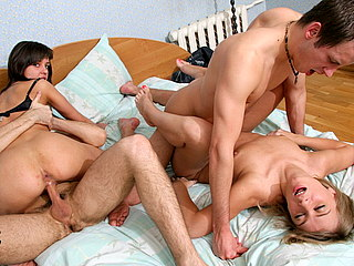 0df7e4f74dcka p Filthy gal taking two hard members and eating semen